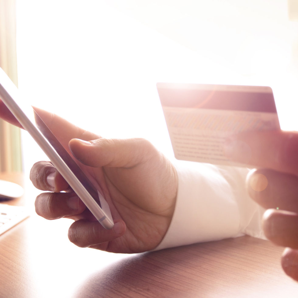 Concept for m-commerce, online shopping, m-banking, internet security