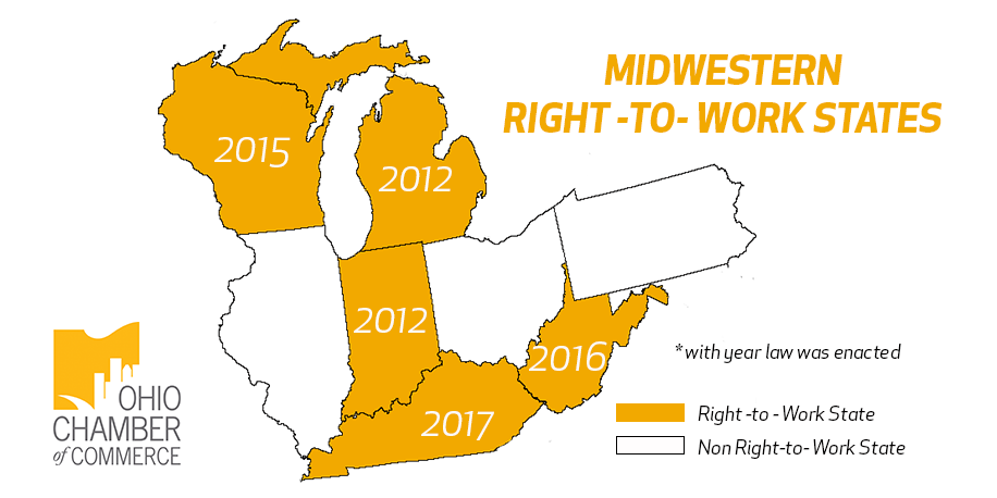 Right To Work States Map 2016.Kentucky Makes Ohio One Step Closer To Being A Non Right To Work